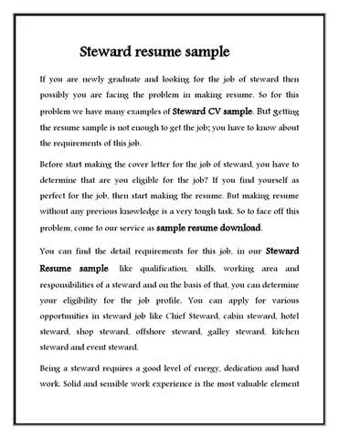 Steward cv sample for hotel stewerd job by Sampleresumedownload - issuu