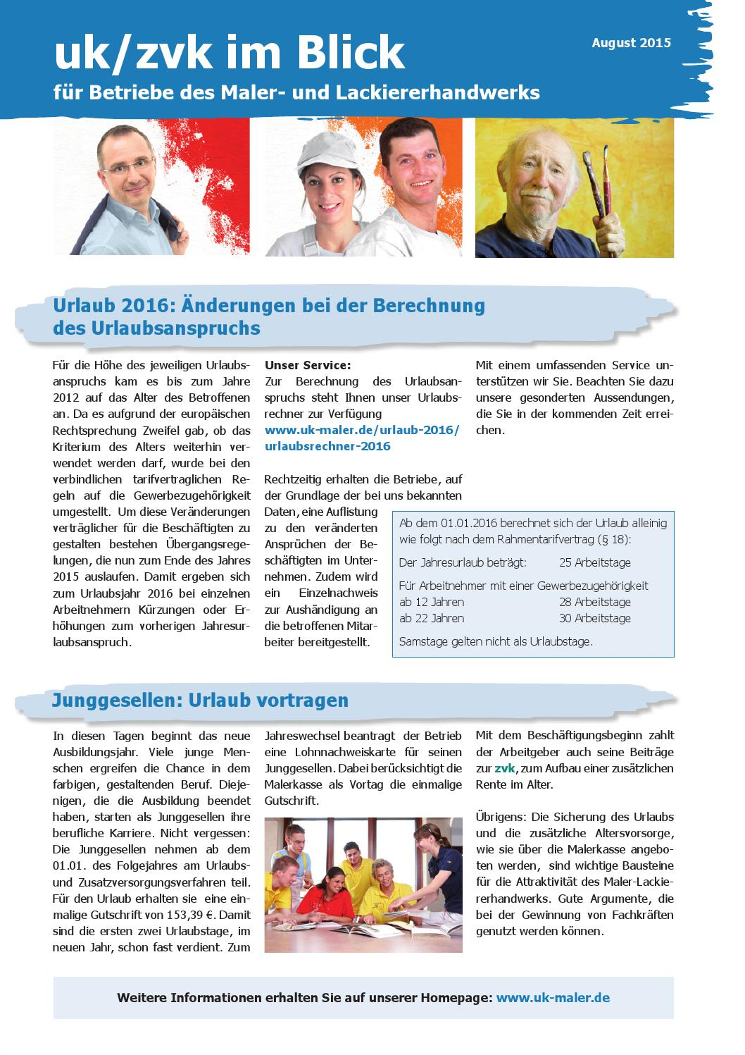 Betriebe Maler Uk Zvk Im Blick August 2015 By Malerkasse Issuu