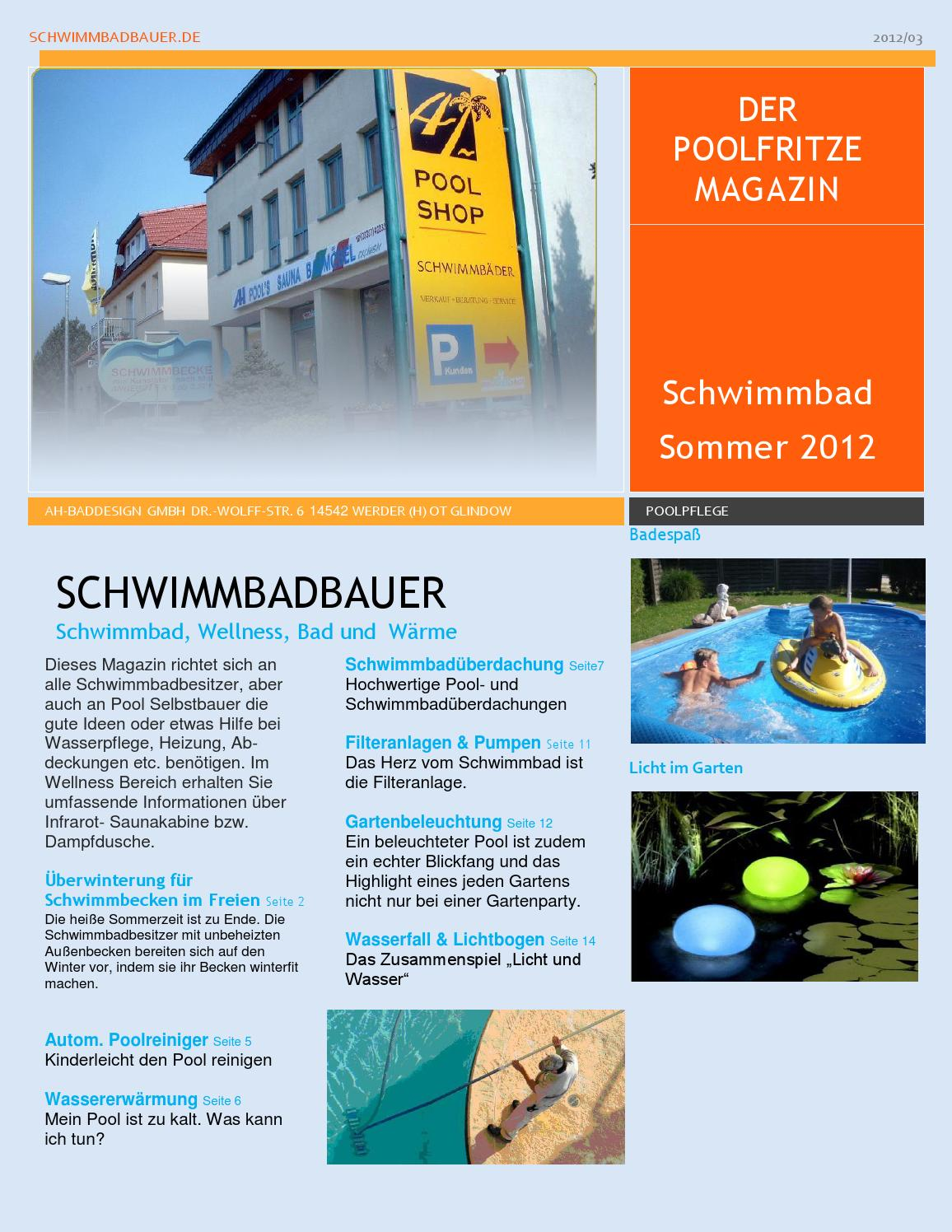 Pool Bodensauger Funktionsweise Schwimmbadbau Poolfritze Magazin Sommer By Schwimmbadbauer Issuu
