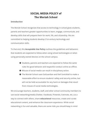Student Social Media Policy by The Moriah School - issuu