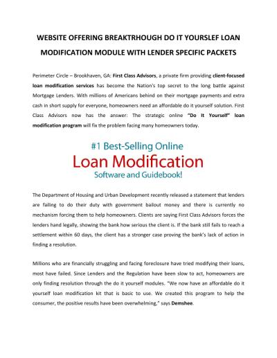 Website offering Breakthrough Do It Yourself Loan Modification Module With Lender Specific ...