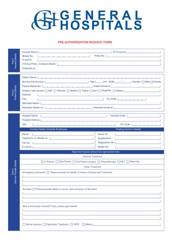 General hospital pre-authorization request form by COIPA
