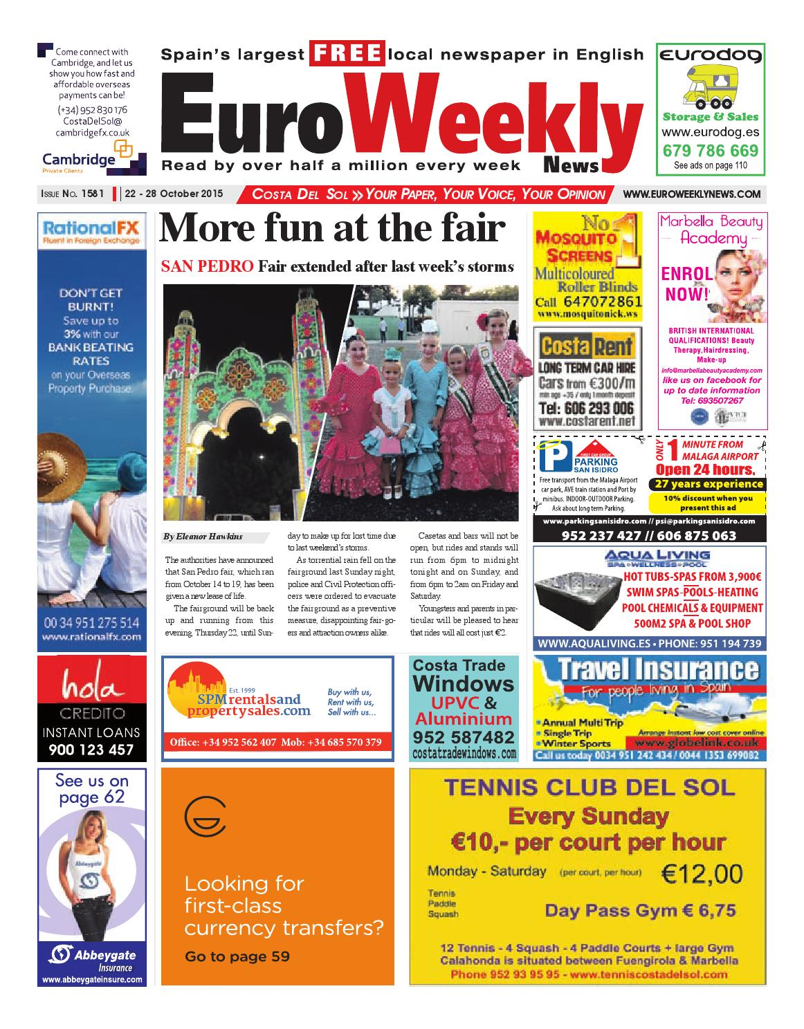 Euro Weekly News Costa Del Sol 22 28 October 2015 Issue 1581 By Euro Weekly News Media S A Issuu