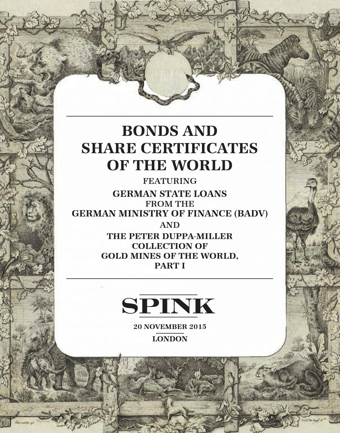 Holz In Form Schreinerei Amöneburg Bonds And Share Certificates Of The World 15019 By Spink And Son