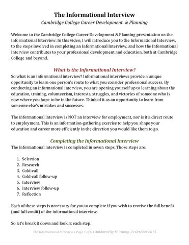Informational interview transcript by Cambridge College Center for