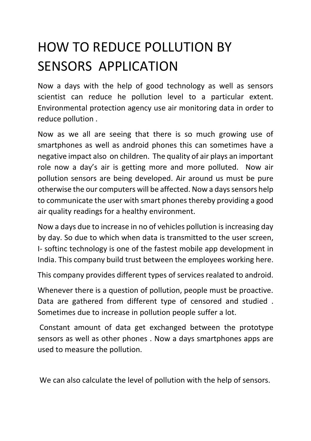 How To Reduse Pollution How To Reduce Pollution By Sensors Application By I Softinc Issuu