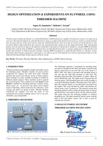Design optimization  experiments on flywheel using thresher machine
