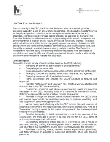 Executive Assistant Job Description by Martin Bravo - issuu