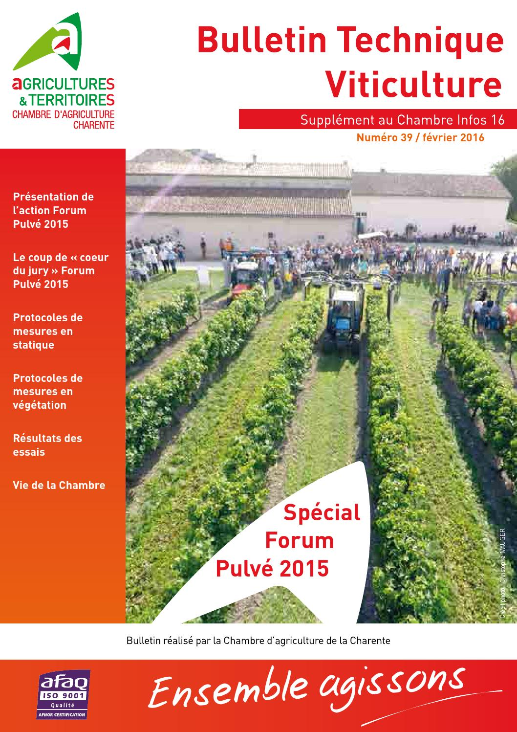 Chambre Agriculture Charente Bulletin Viticulture N39 Special Forum Pulve 2015 By Cazaux