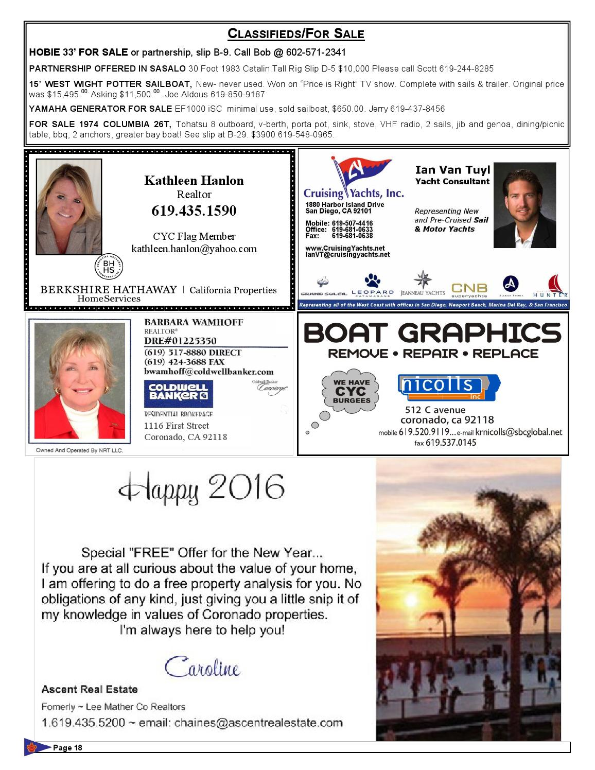 Granosol February 2016 By Coronado Yacht Club Issuu