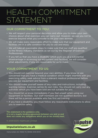 Health Commitment Statement by Impulse Leisure - issuu
