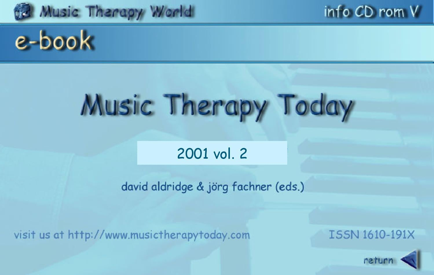 Music Therapy Today Vol 2 Nos 1 2 By World Federation Of Music - 282 Goldene Uhr Von Haas Cie