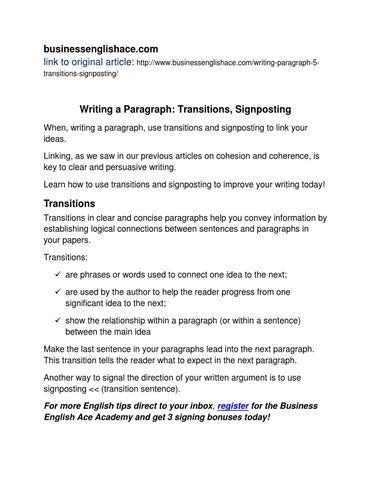 English Writing - Transitions, Signposting by BusinessEnglishAce - issuu - transition to start a paragraph