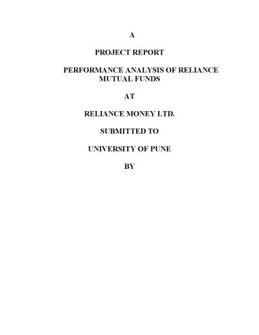 563 a project report performance analysis of reliance mutual funds