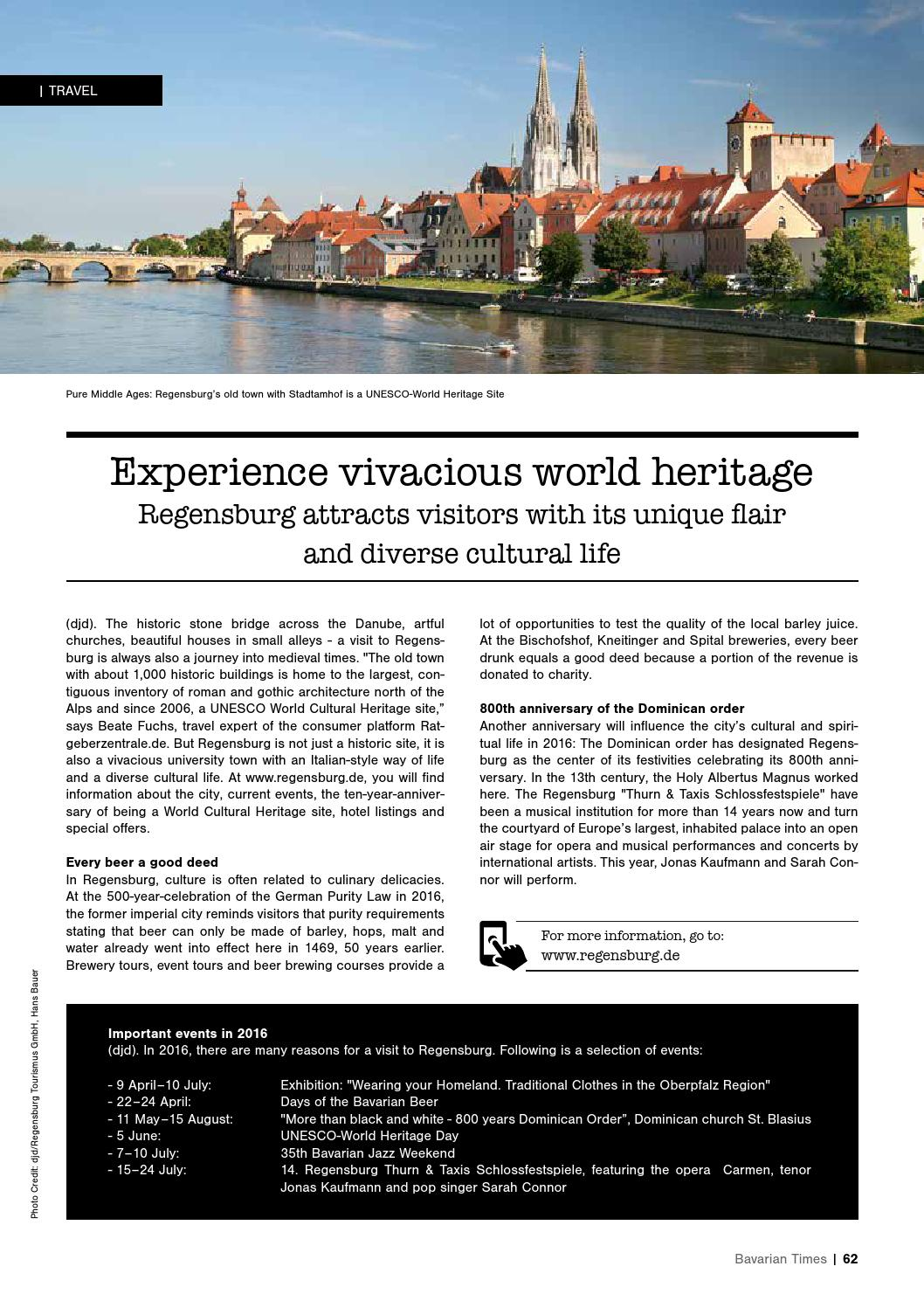 Regensburg Events Bavarian Times Magazine Edition 01 March 2016 By Bavarian
