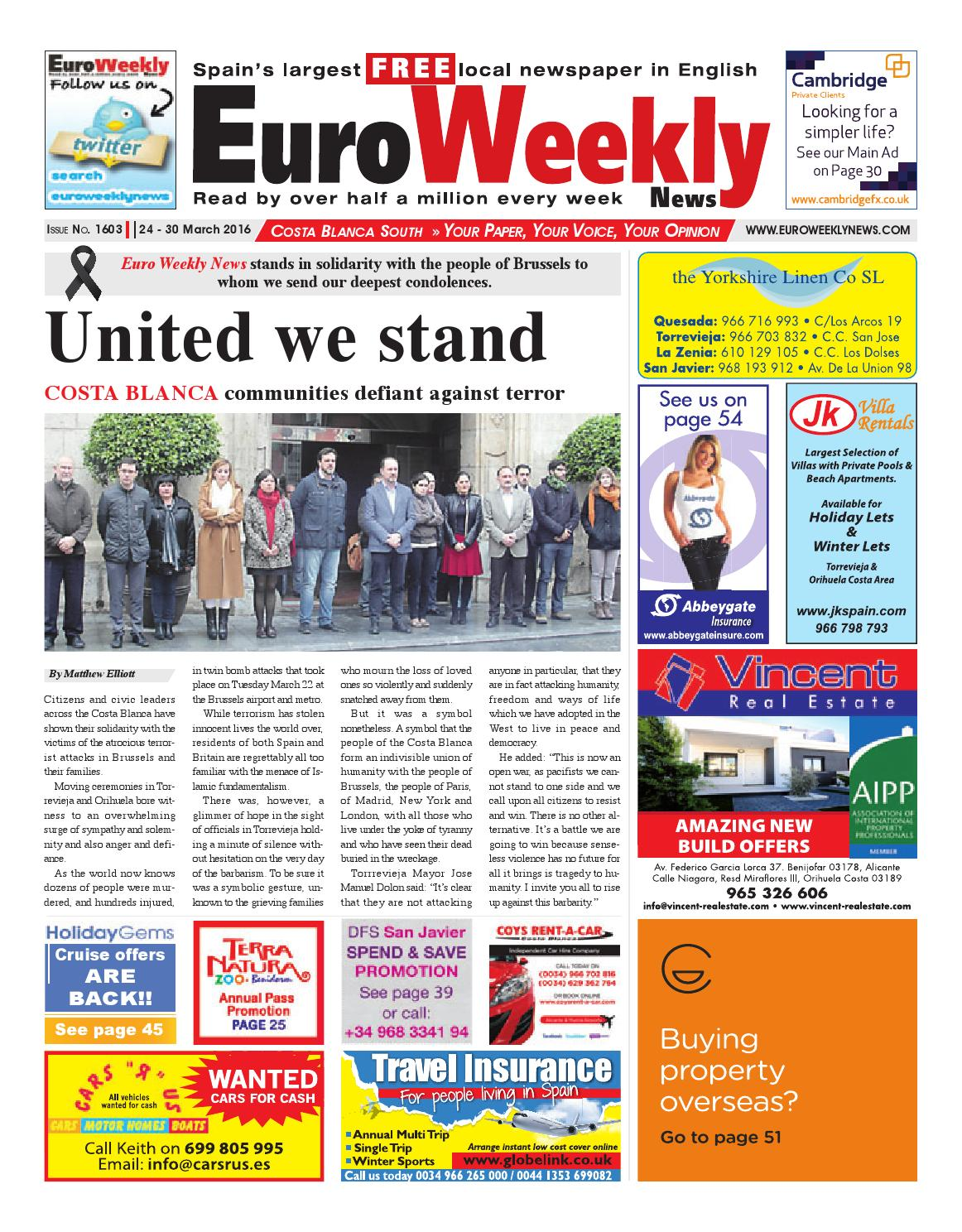 Sofaland Spain Euro Weekly News Costa Blanca South 24 30 March 2016 Issue