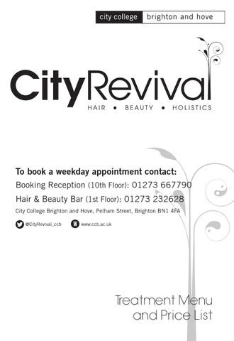 City Revival Salon price list by City College Brighton and Hove - issuu