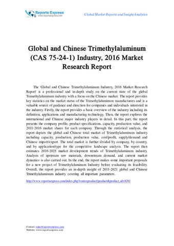 Global and Chinese trimethylaluminum (cas 75 24 1) industry, 2016