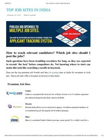 Top job sites in india fastcollab blog by sriramya - issuu