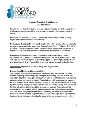 bright-futures-program-specialist-job-description by Focus Foward - case management job description