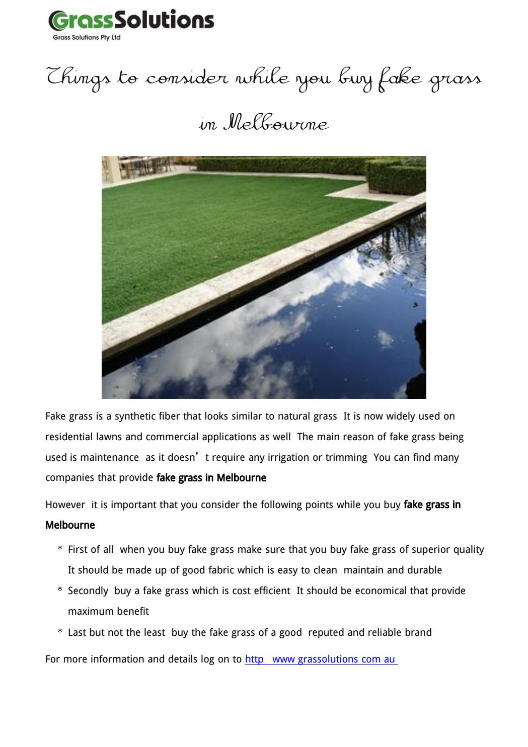 Buy Fake Grass Things To Consider While You Buy Fake Grass In Melbourne