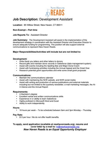 job-description-devmt-assistant-final-6-28-16 by New Haven Reads - issuu