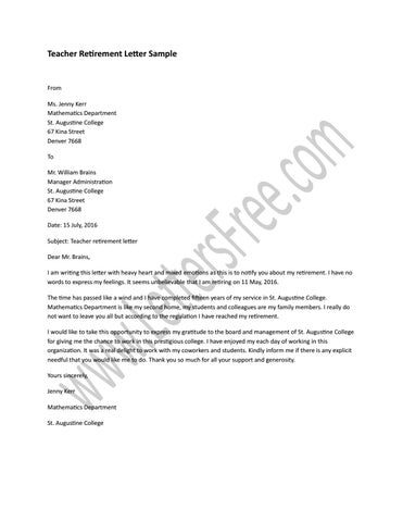 Teacher Retirement Letter Sample by Sample Letters - issuu - retirement letters