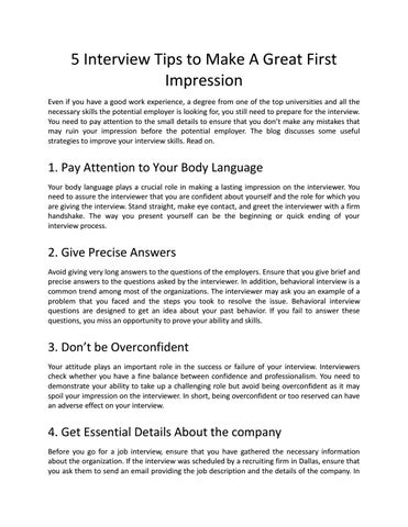 5 interview tips to make a great first impression by Sherries