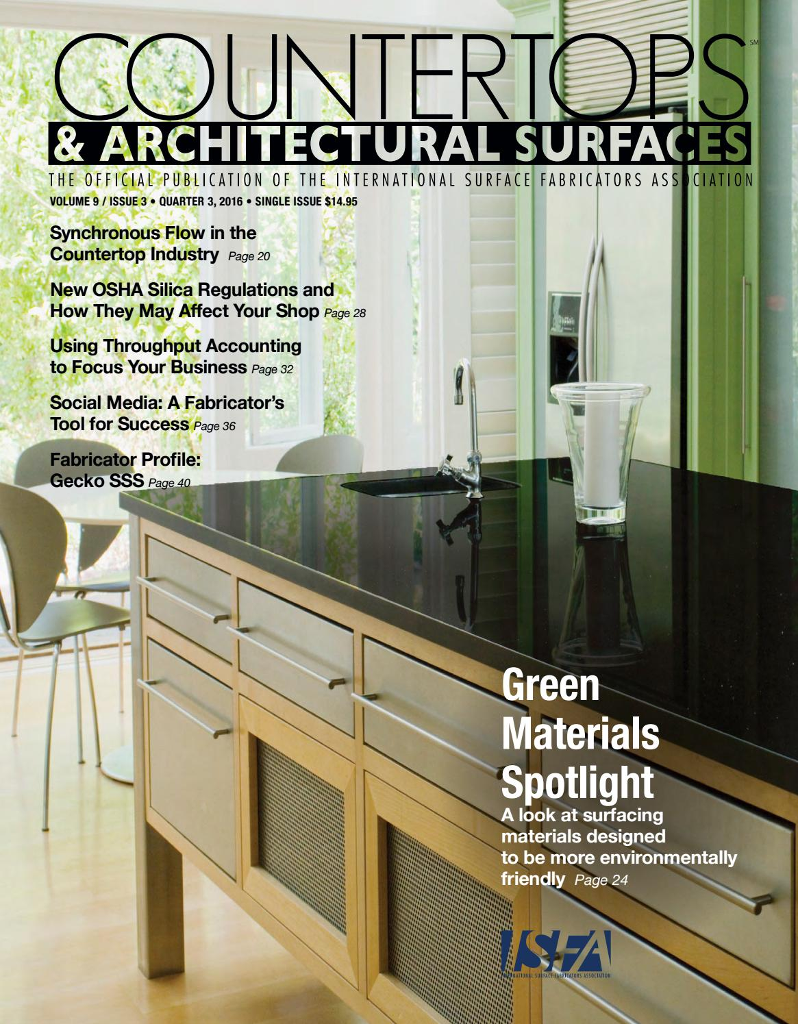 Isfa S Countertops Architectural Surfaces Vol 9 Issue 3 Q3 2016 By Isfa Issuu