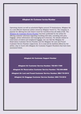 Allegiant air customer service number by customernumber - issuu