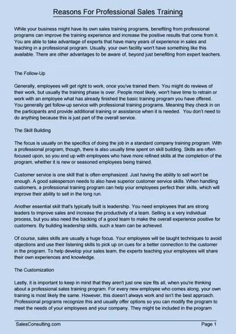 Reasons For Professional Sales Training by Richard Jackson - issuu