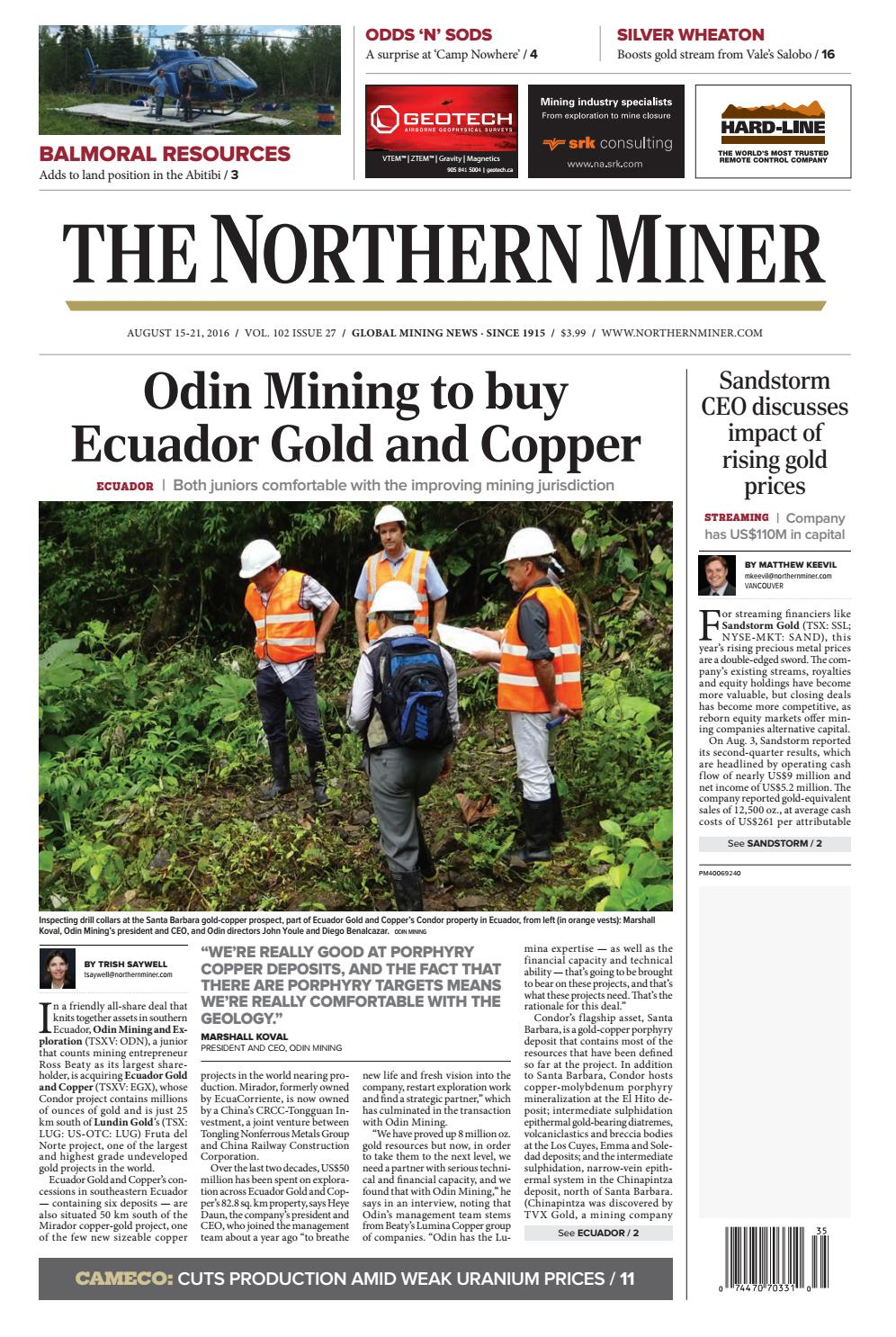 Gfk Pool Luna The Northern Miner August 15 2016 Issue