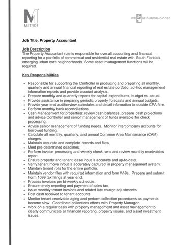 Property Accountant Job Description 2016 by Martin Bravo - issuu - Accounting Job Titles
