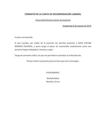 Pdf carta de recomendacion by Marbela Alejandra Baten Calderón - issuu