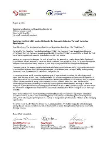 Cover Letter to Government of Canada\u0027s Task Force on Marijuana