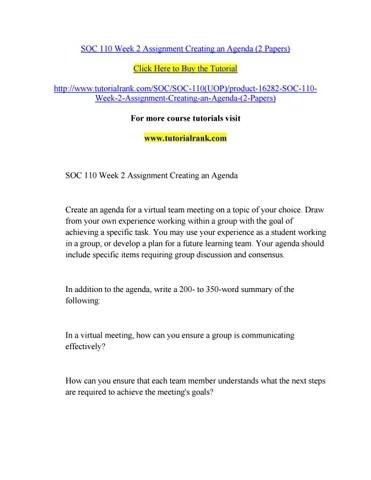 Soc 110 week 2 assignment creating an agenda by tonystark20 - issuu - how to create a agenda
