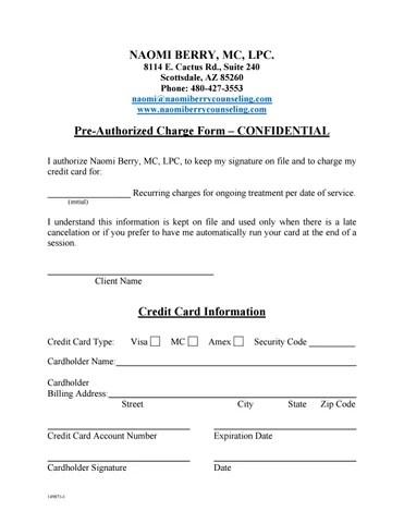 Credit card pre authorization form by bill bradley - issuu