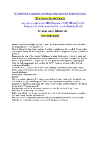 Mt 460 unit 8 assignment case study analysissurvival in specialty