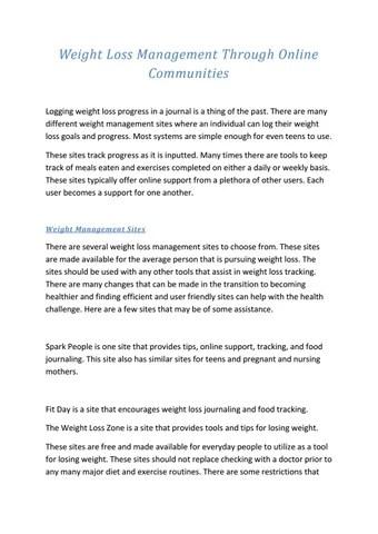 Weight loss management through online communities by Madhu Joshi - issuu