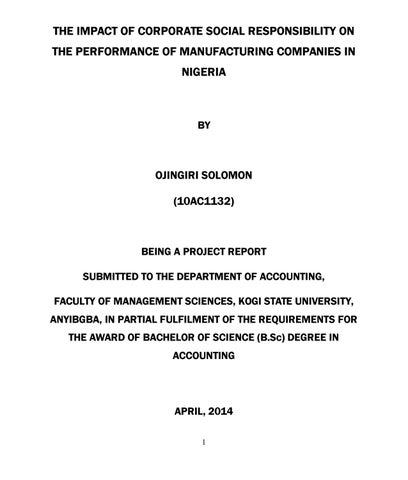 THE IMPACT OF CORPORATE SOCIAL RESPONSIBILITY ON THE PERFORMANCE OF