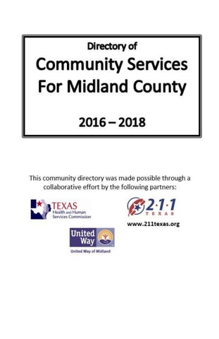2016 \u2013 2018 Directory of Community Services For Midland County by - community service directory