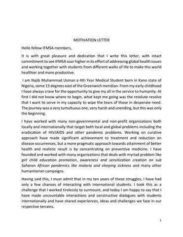 IFMSA Motivation letter by Najib Usman - issuu