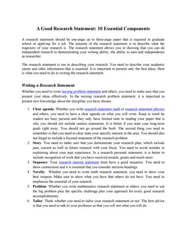 Research Statement- 10 Ingredients to Success by Research Statement