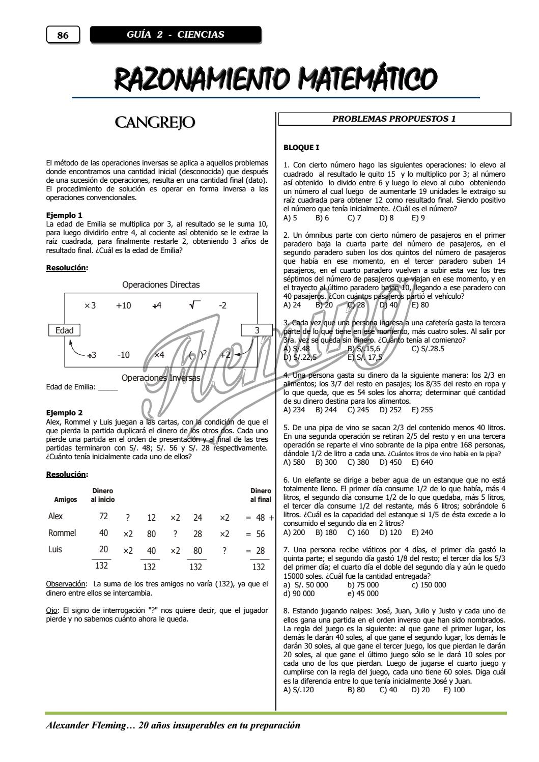 Raiz Cuadrada De 40 Razonamiento Matematico By William Cruz Espinoza Issuu