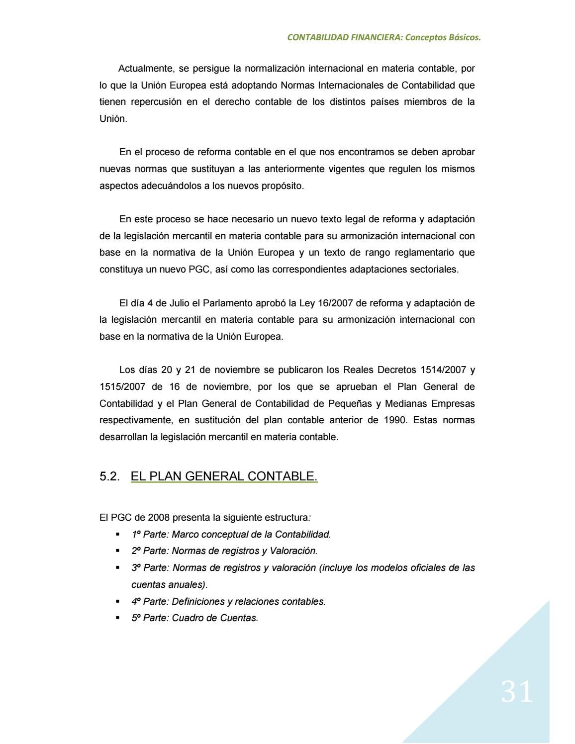Cuadro Plan General Contable Manual De Contabilidad Financiera