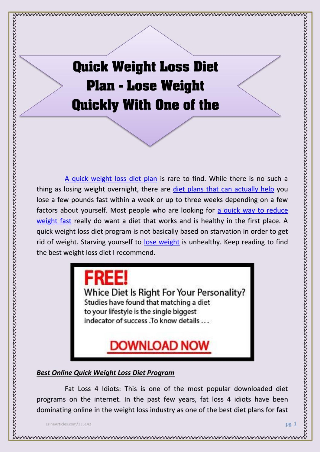 Diet Plan To Lose Weight Fast Quick Weight Loss Diet Plan Lose Weight Quickly With One Of The