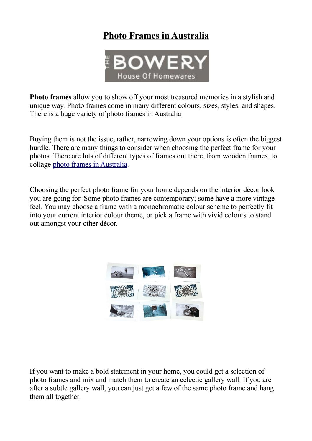Picture Frames Australia Photo Frames In Australia The Bowery By The Bowery Issuu