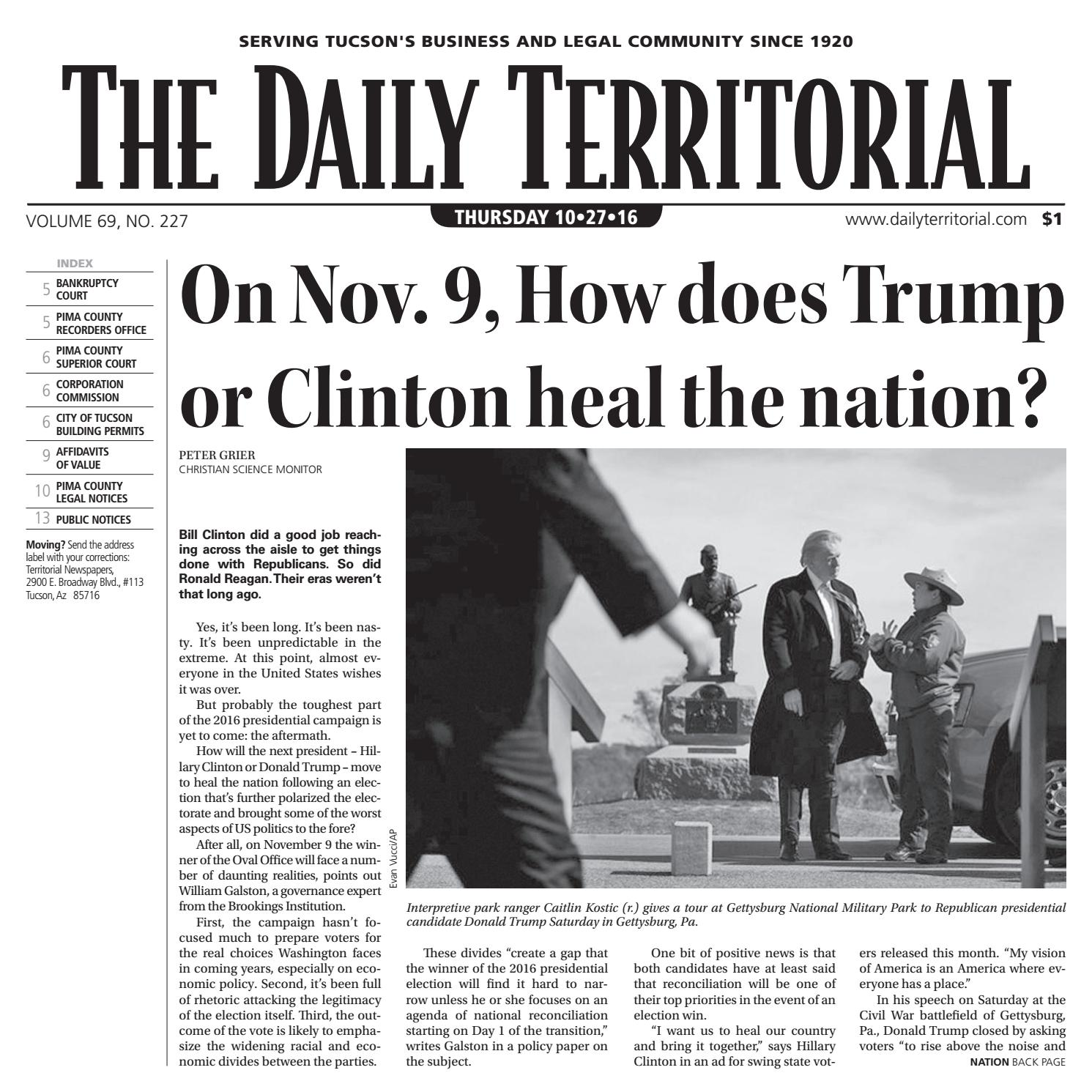 10 27 2016 The Daily Territorial By Wick Communications Issuu