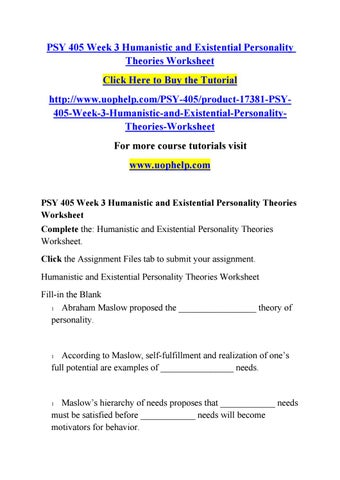 Psy 405 week 3 humanistic and existential personality theories - humanistic existential perspective