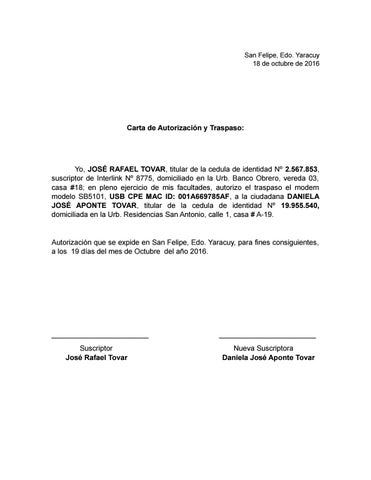Carta de autorización inter by Daniela Aponte - issuu